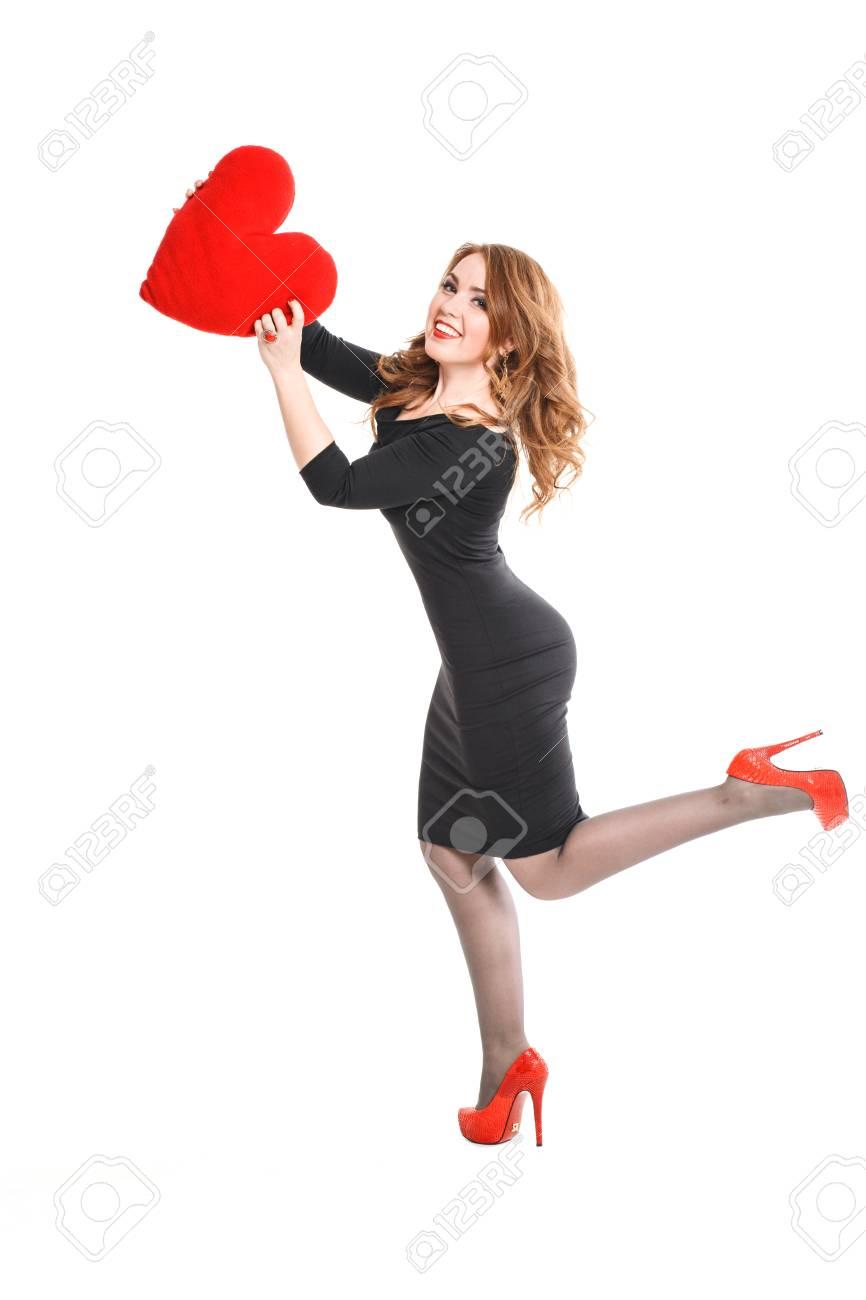 En Des Blonde Jeune Avec Robe Et Lèvres Rouges Noire Belle Femme xqTanf