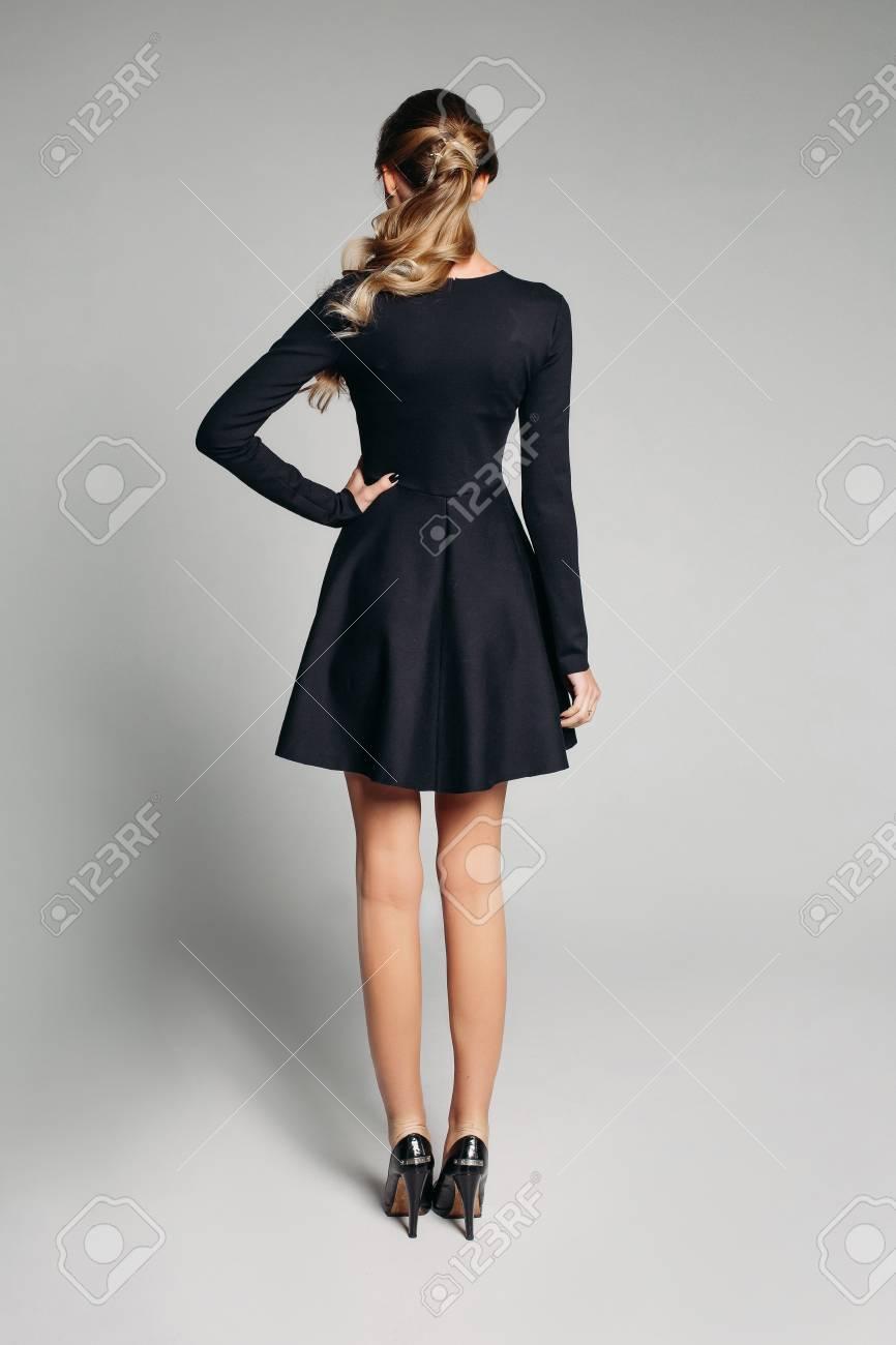 Black Dress And High Heels. Stock Photo