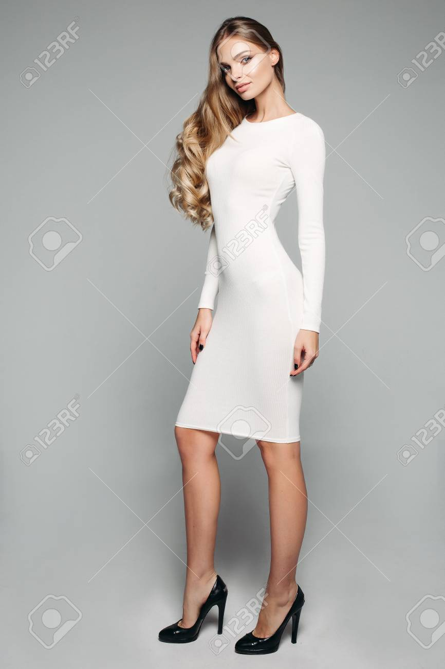 Stunning Blonde Girl In White Simple