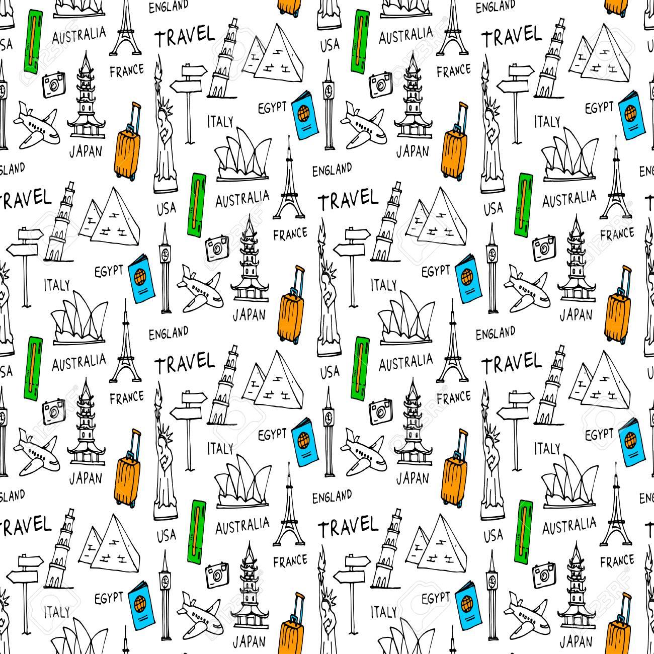 Doodles seamless pattern - 69017544