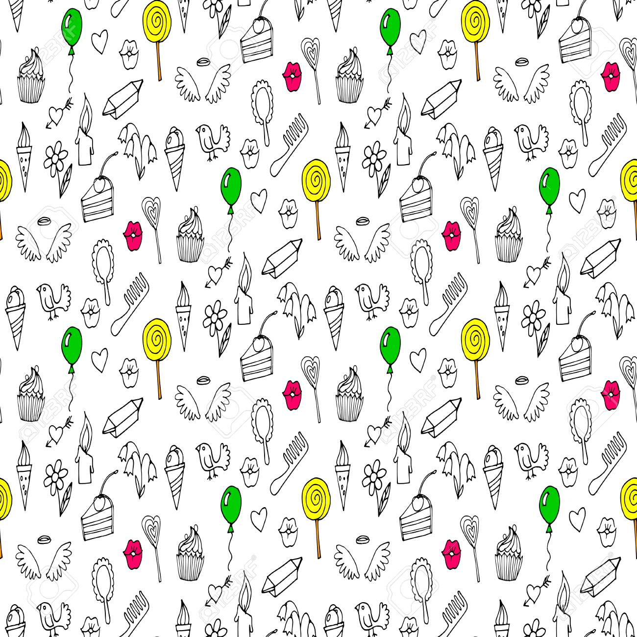 Doodles seamless pattern - 69017541