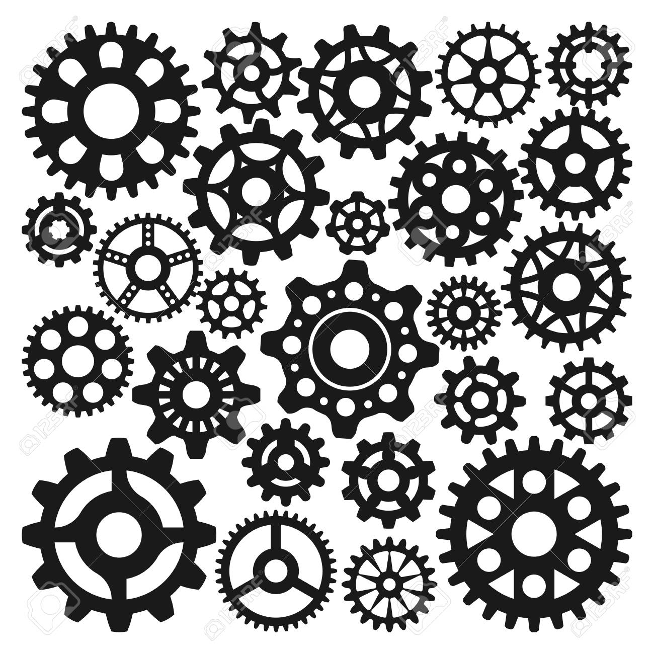 Black gear icons isolated illustration. - 69017552