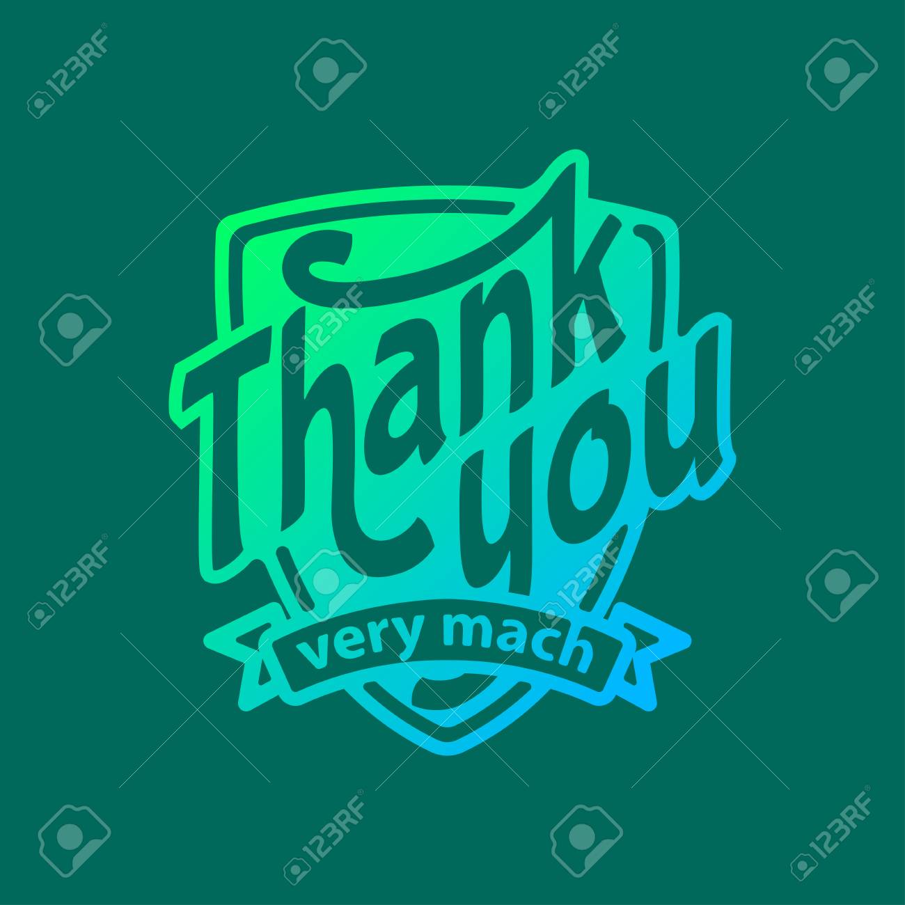 Thank you text lettering badge - 69017559