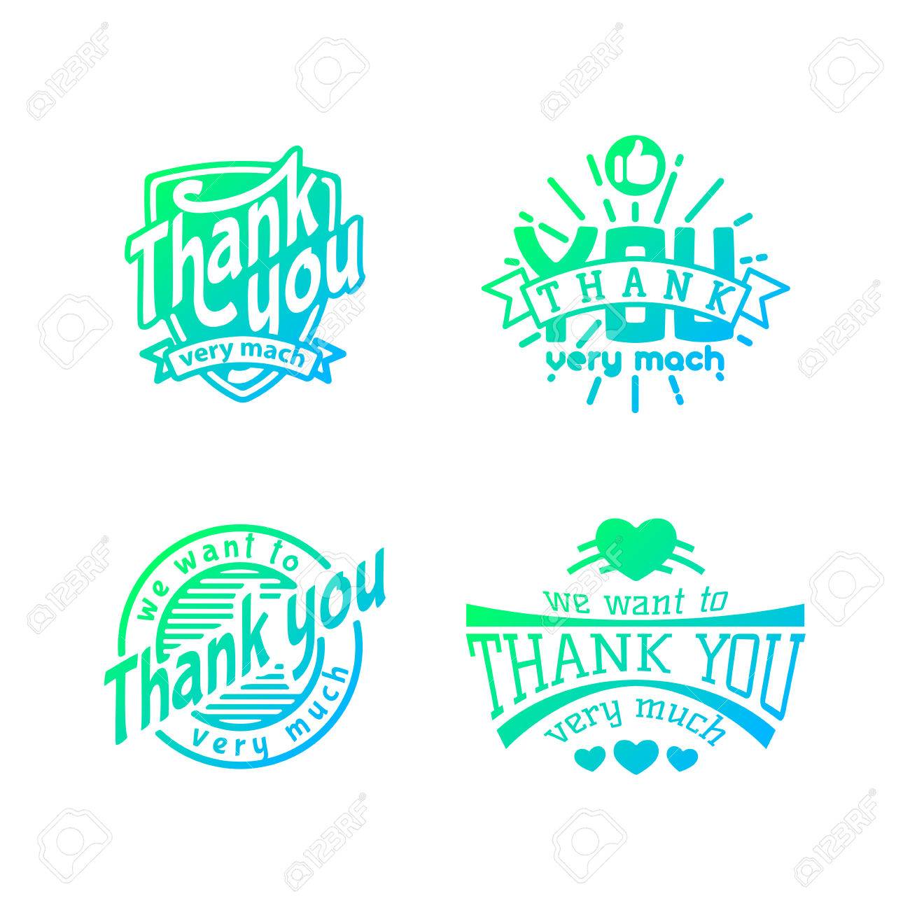 Thank you text lettering badge - 69017562