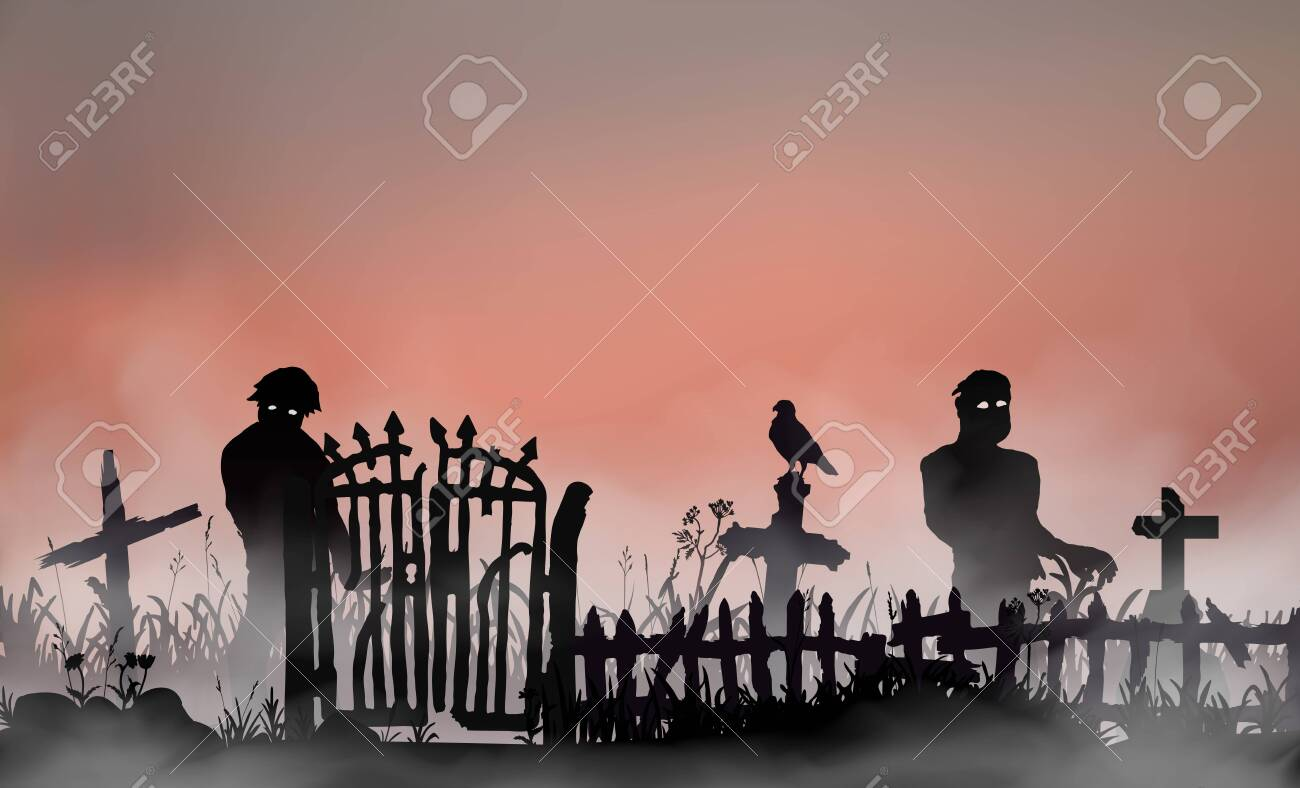 Halloween related landscape with undead people, graveyard gates, fence and tombs between field grass. Zombies walking through the red dawn mist. Vector silhouette illustration - 152865354