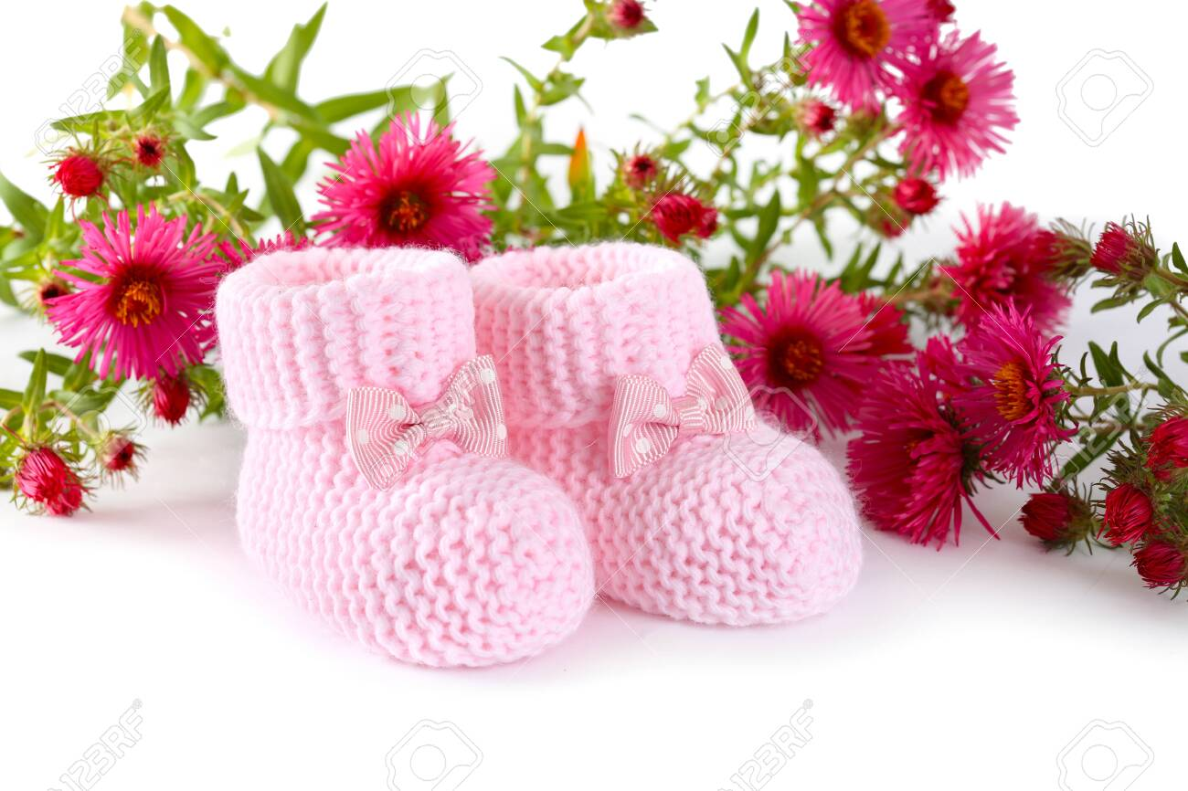 Pink Knitted Baby Booties With Flowers