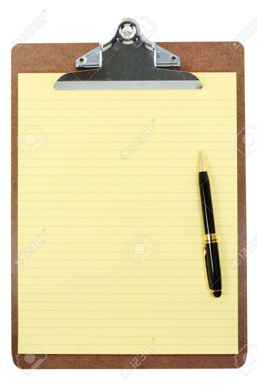 clipboard and yellow paper with white background Stock Photo - 627149