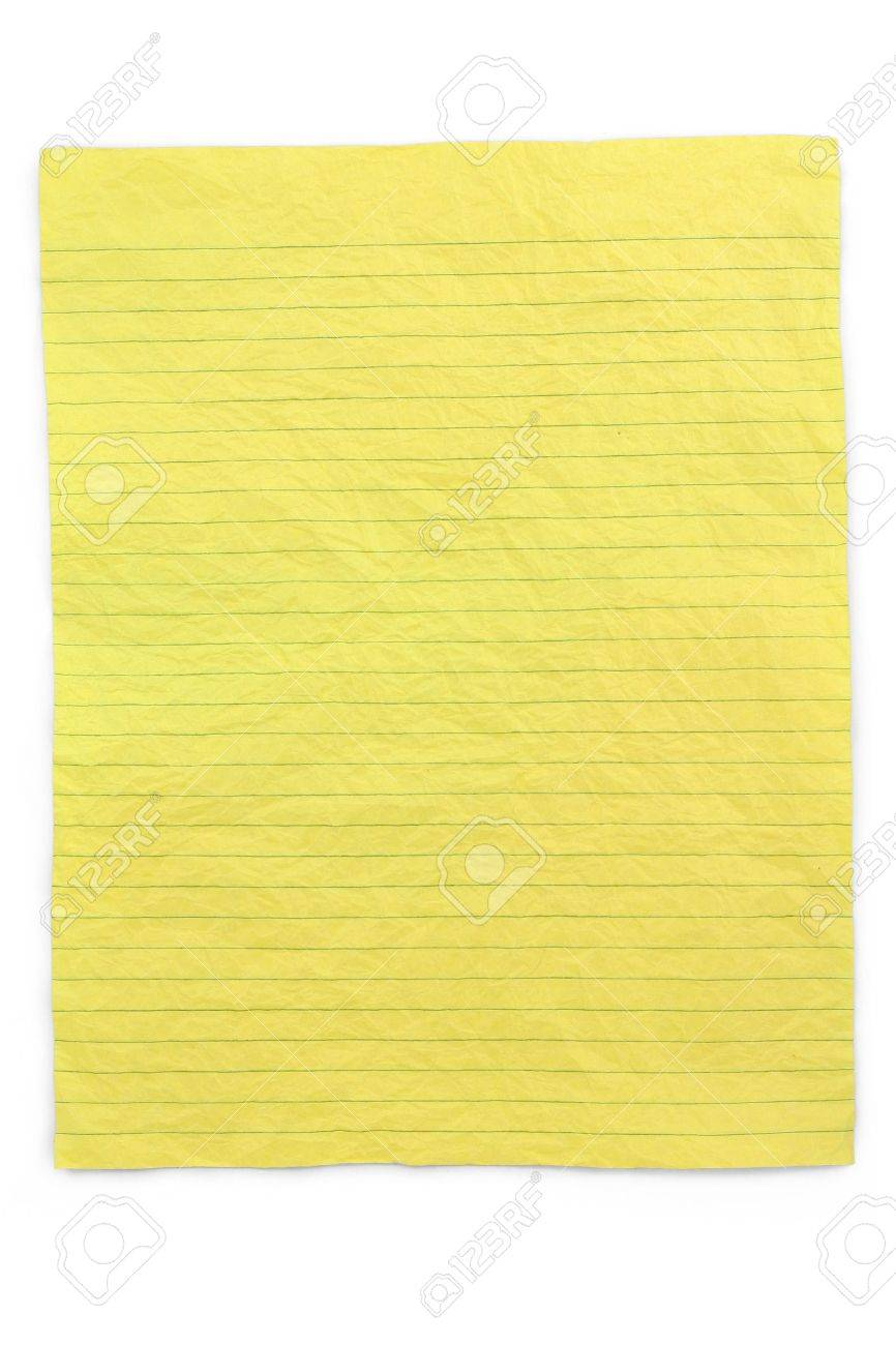 crumpled yellow lined paper with white background stock photo