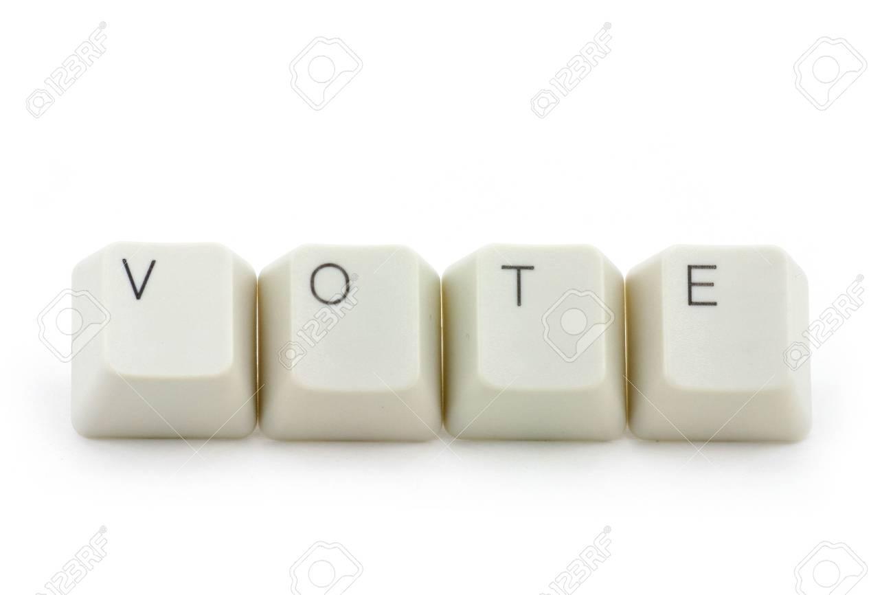 letter keys close up, concept of online vote Stock Photo - 709282