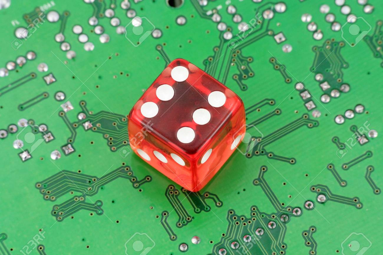Red Dices And Circuit Board, Concept Of Online Gambling Stock Photo ...