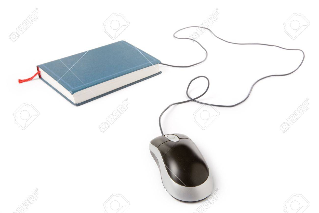 computer mouse and book, concept of online education Stock Photo - 1039900
