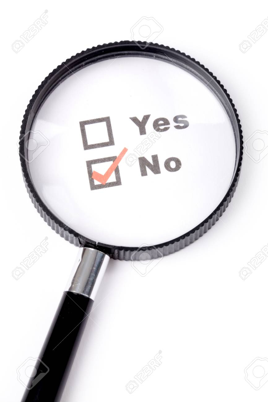 questionnaire and magnifier,concept of disagreement Stock Photo - 1533968