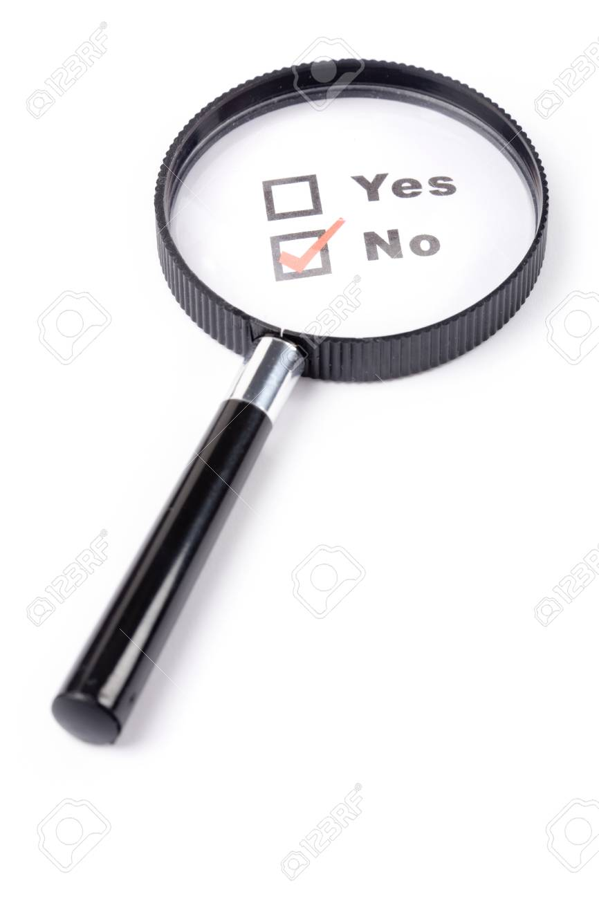questionnaire and magnifier, concept of disagreement Stock Photo - 1545712