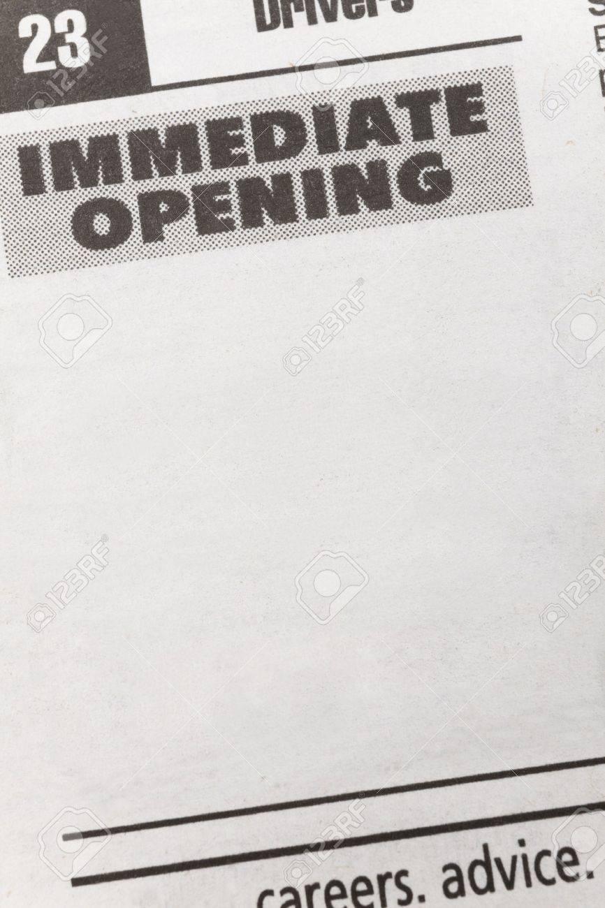Ad-Zeitung Beschäftigung, Immediate Opening, Beschäftigung Konzept ...