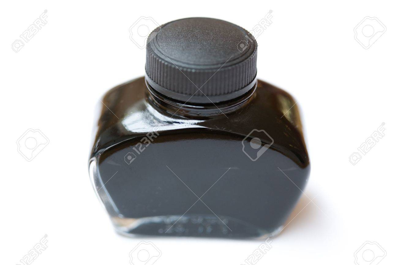 fountain pen ink bottle with white background Stock Photo - 2904782