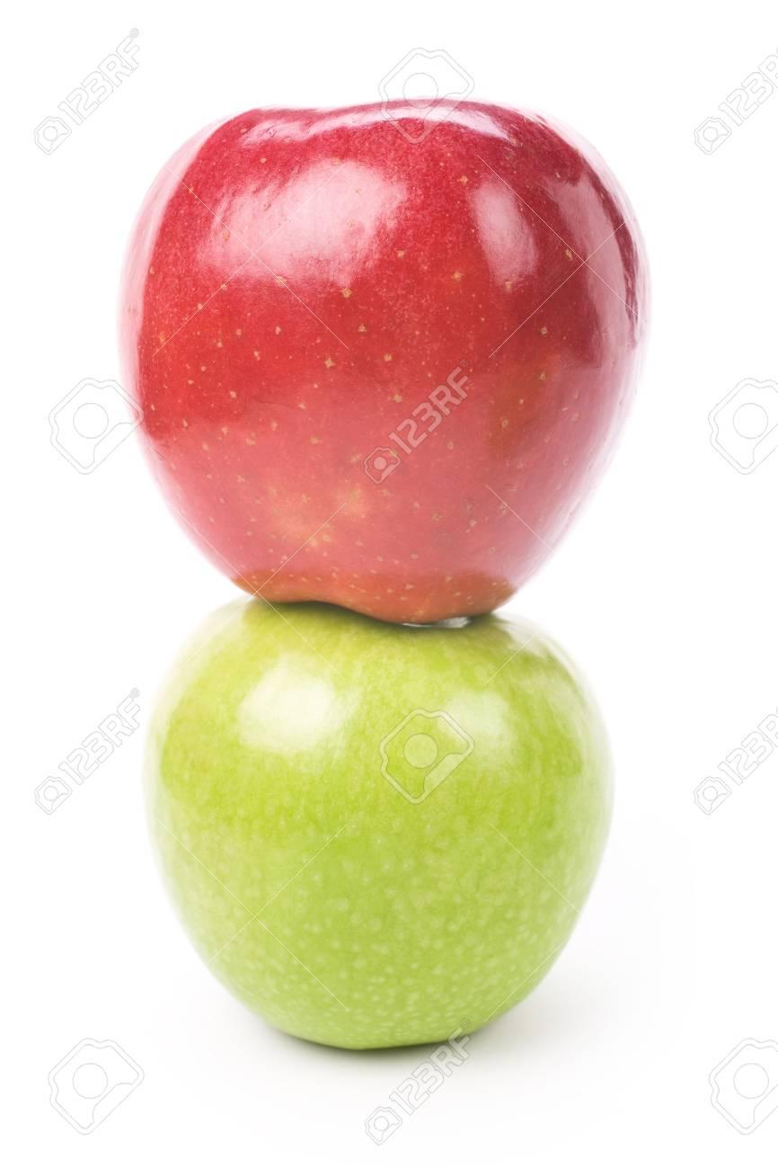 Immagini Stock Apple Rosso Verde Mela Con Sfondo Bianco Vicino
