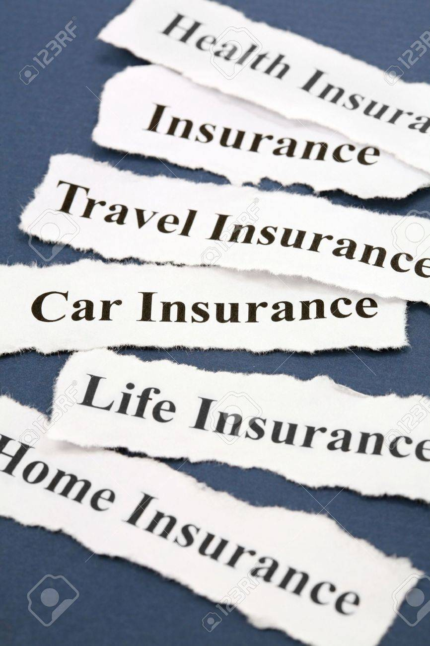 Headline of Insurance Policy, Life; Health, car, travel, home,  for background Stock Photo - 3502147
