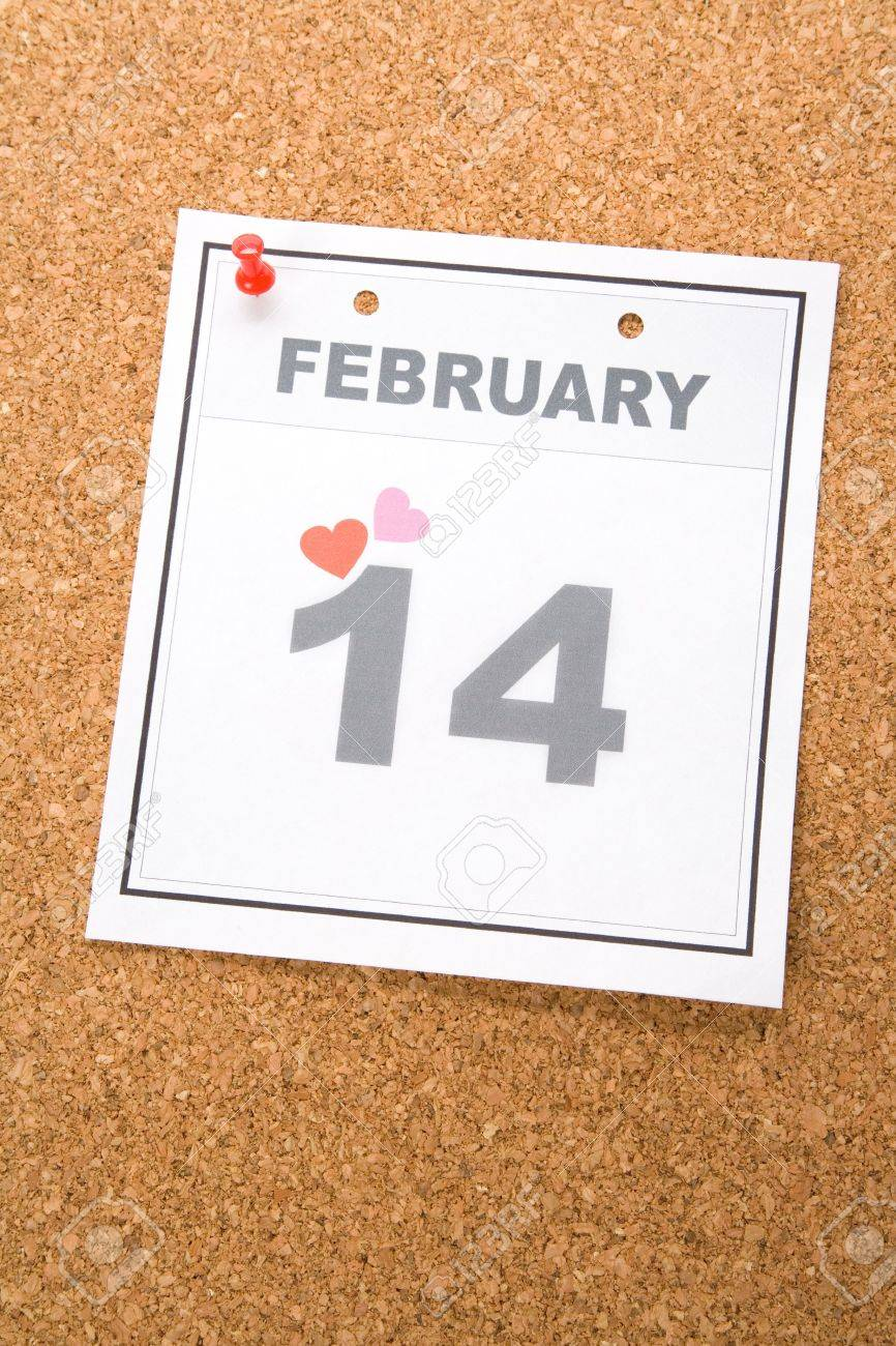 Valentine's Day, calendar date February 14 for background Stock Photo - 3693574