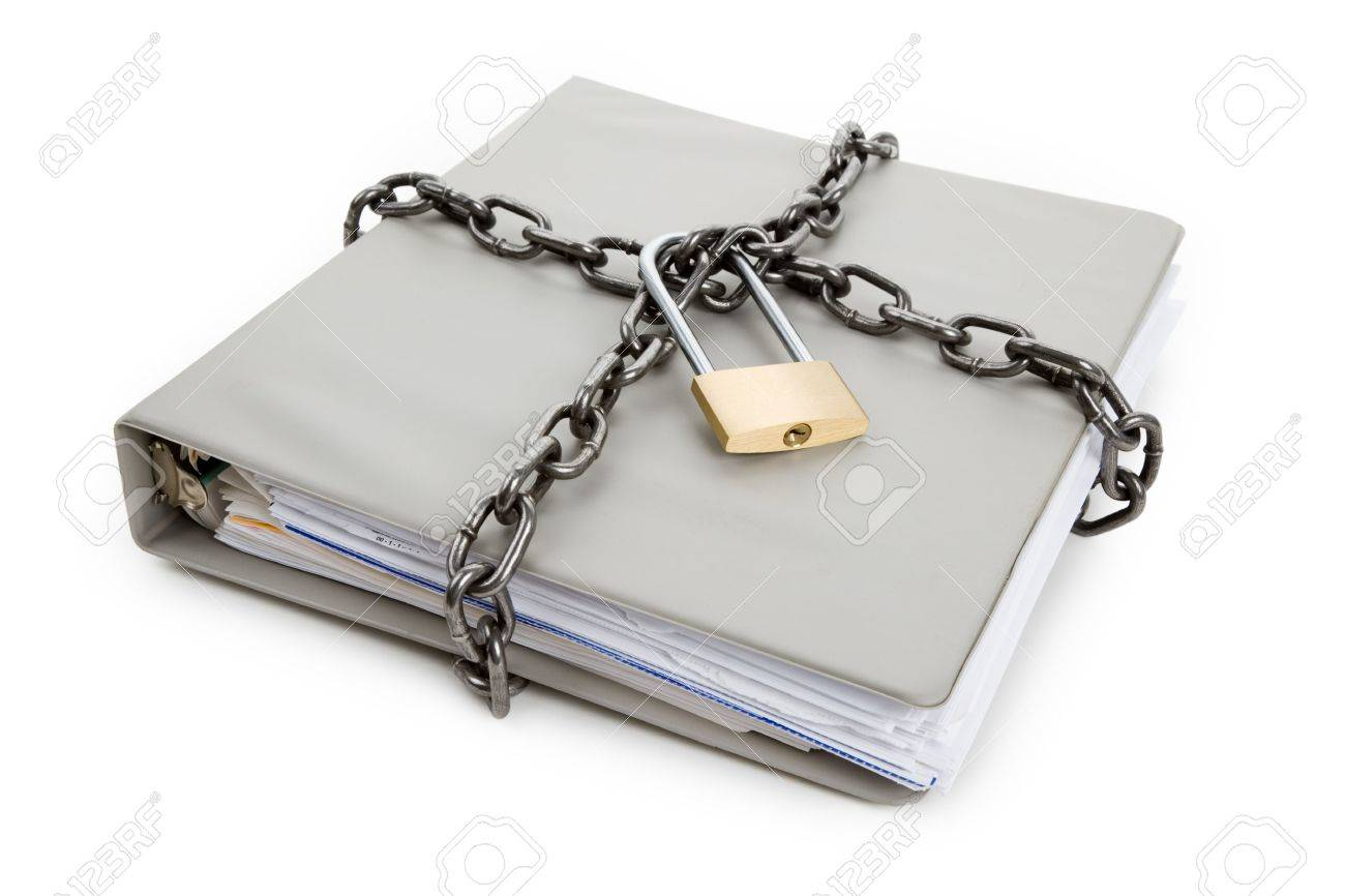 Lock and file folder, concept of Confidential Document Stock Photo - 6726493