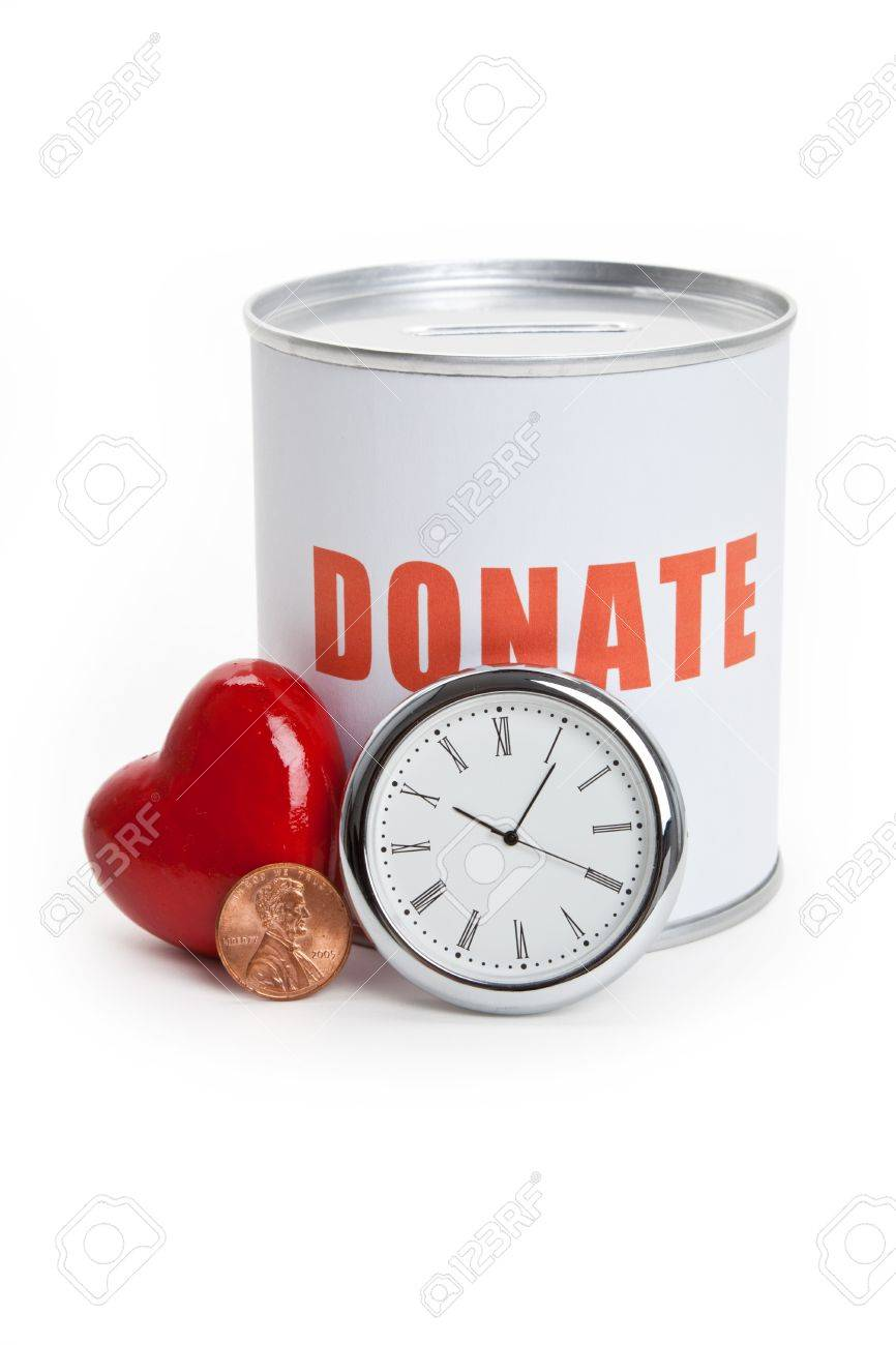 Donation Box and Red Heart, Concept of Care and Love Stock Photo - 7431657