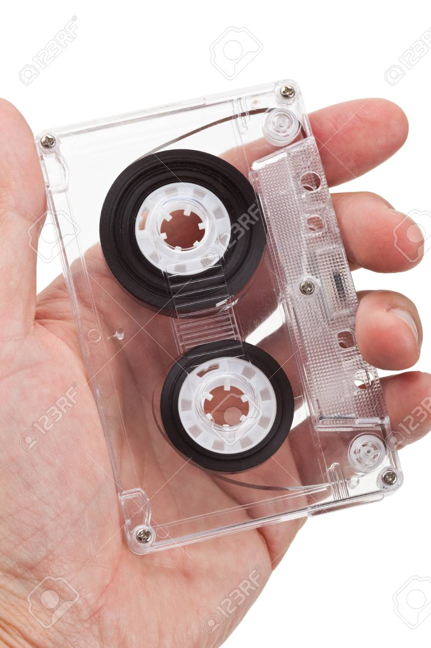 Hand holding a Audio Cassette close up shot Stock Photo - 7805674