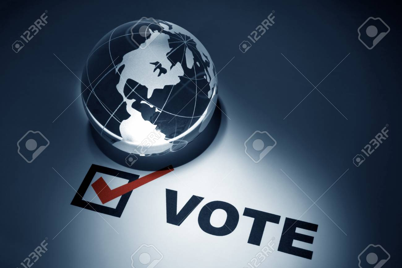 Globe and Voting, concept of Global Communications Stock Photo - 8880173
