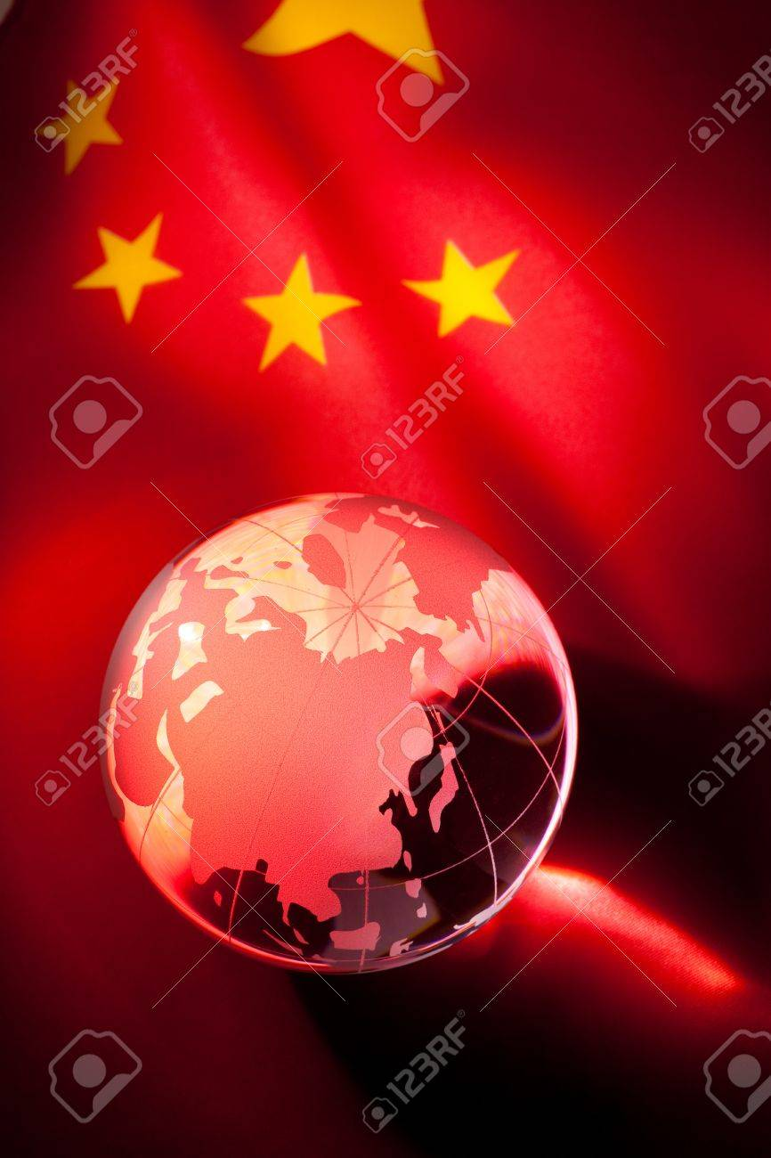 Globe and China Flag for background Stock Photo - 8880220