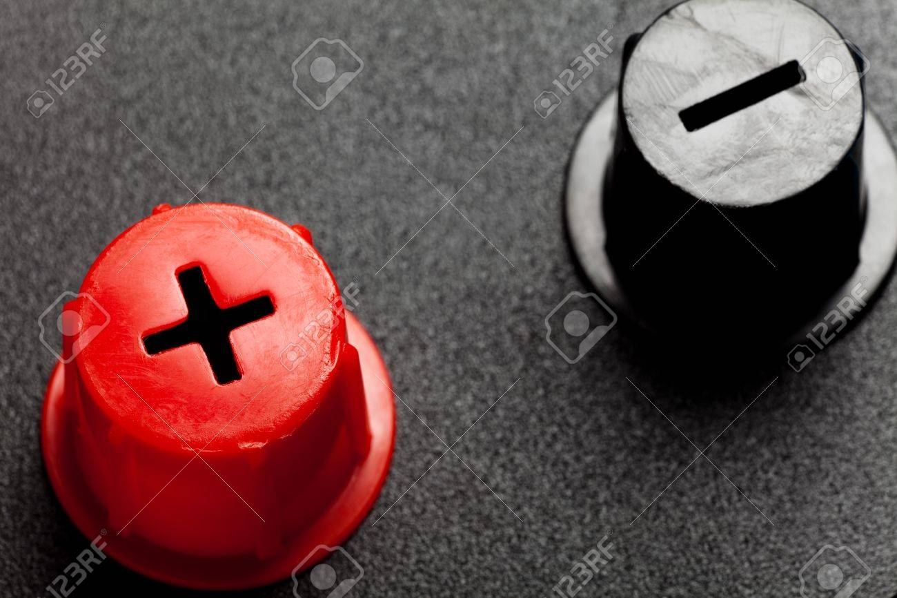 Battery Red Positive And Black Negative Stock Photo, Picture And ...