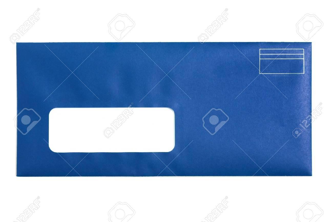 Enveloppe à Fenêtre Bleu Avec Un Fond Blanc Banque Dimages Et