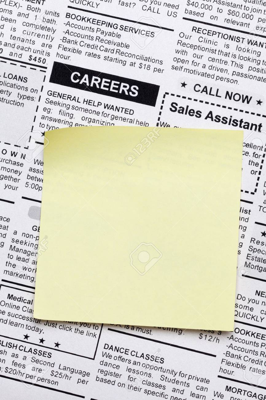 Fake Classified Ad, newspaper and sticky note Stock Photo - 14481772