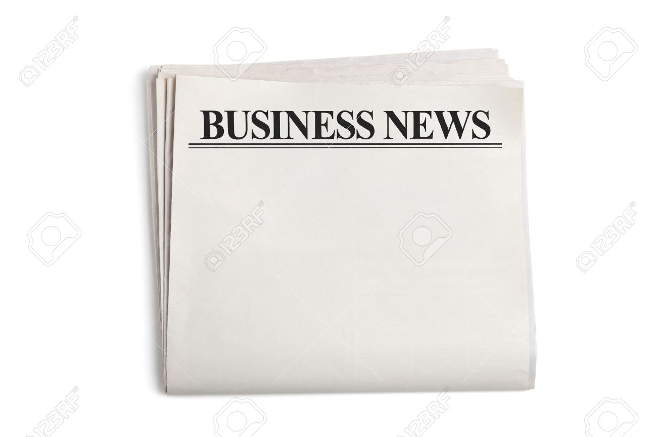 business news, blank newspaper with white background stock photo