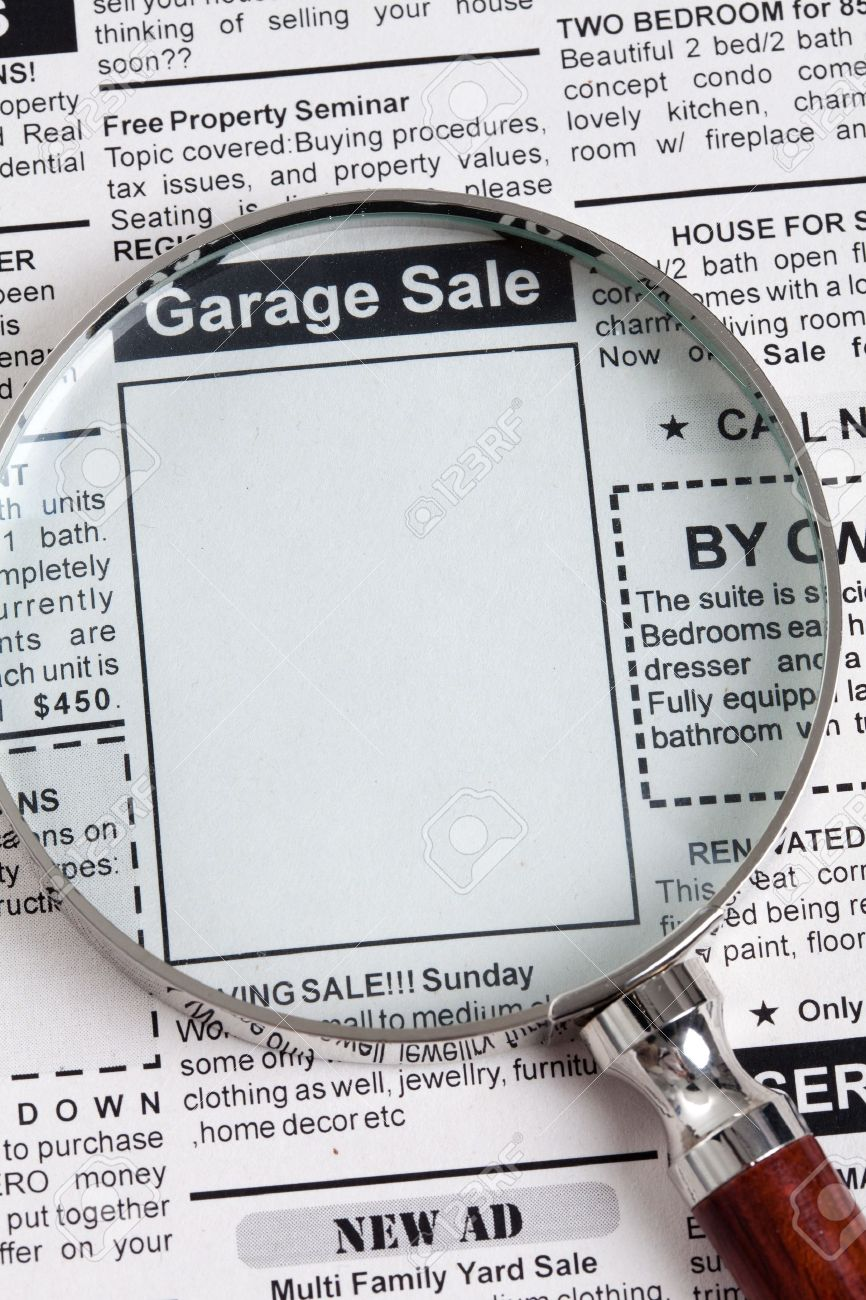 Fake Classified Ad Newspaper Garage Sale Concept Stock Photo