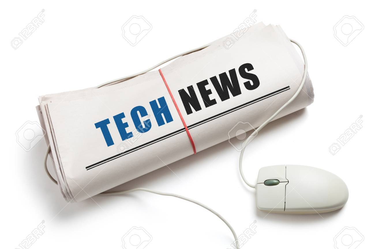 Tech News, Computer mouse and Newspaper Roll with white background Stock Photo - 18566600