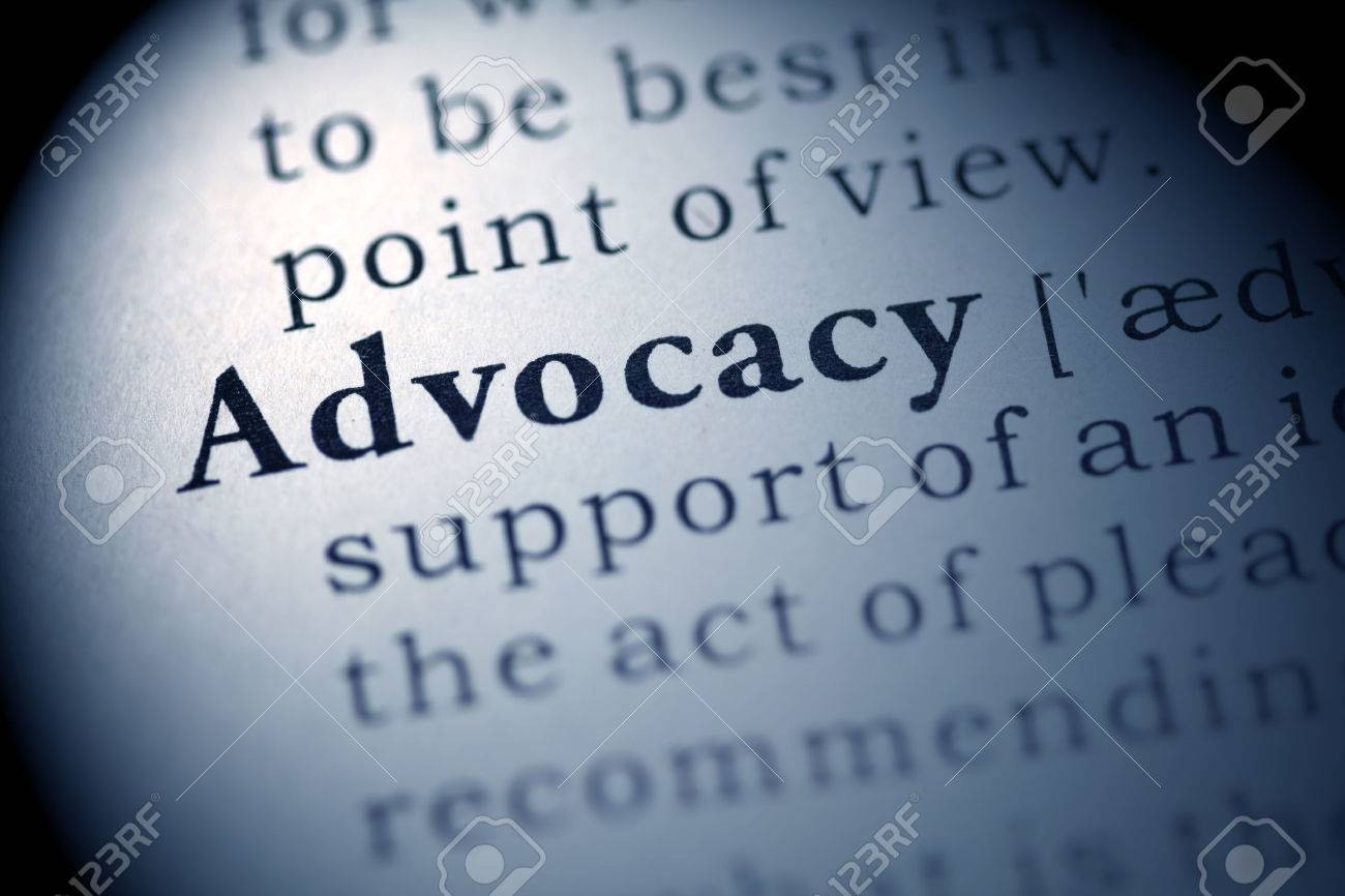 fake dictionary, dictionary definition of the word advocacy. stock