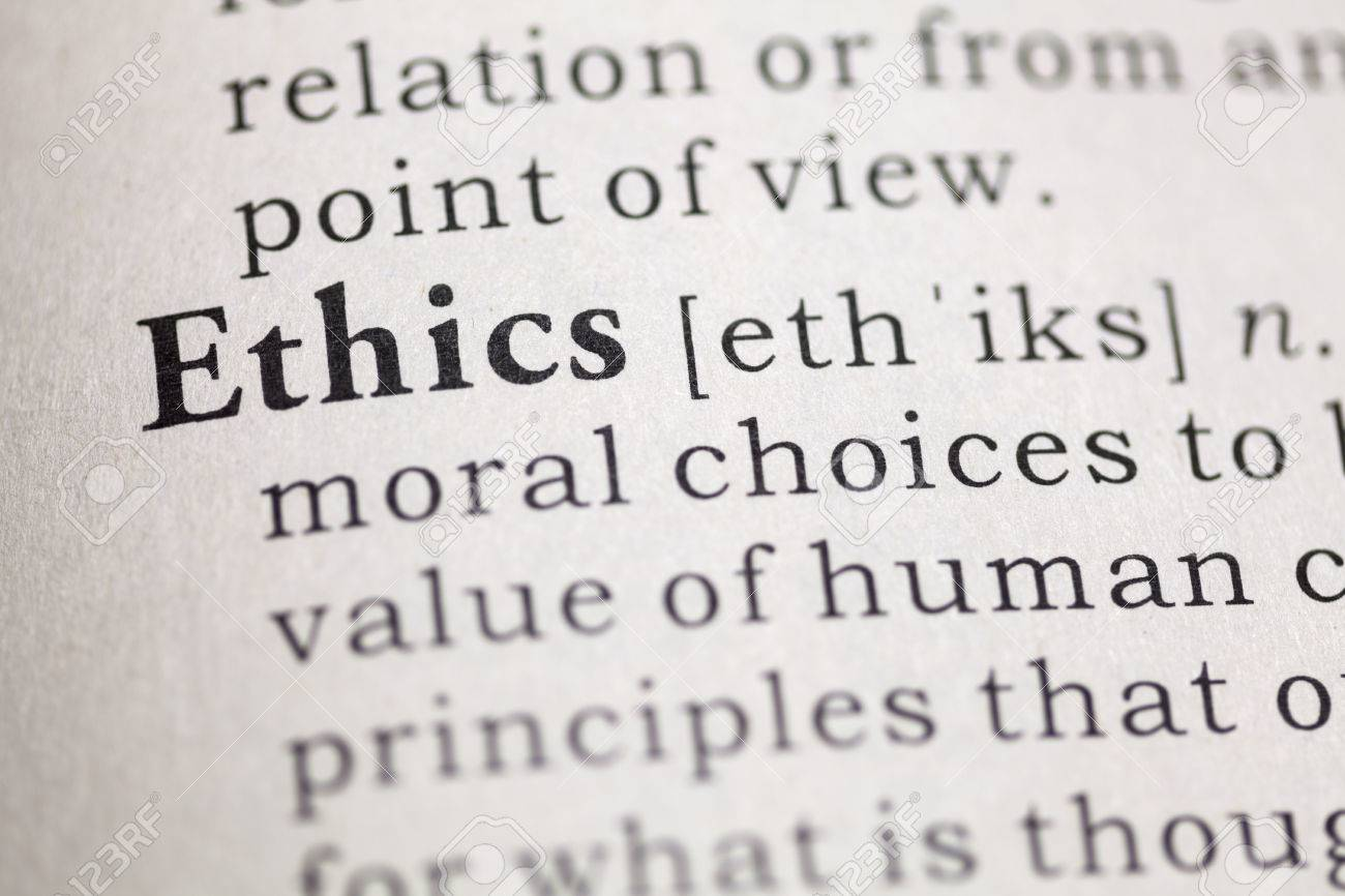 dictionary definition of the word ethics. stock photo, picture and