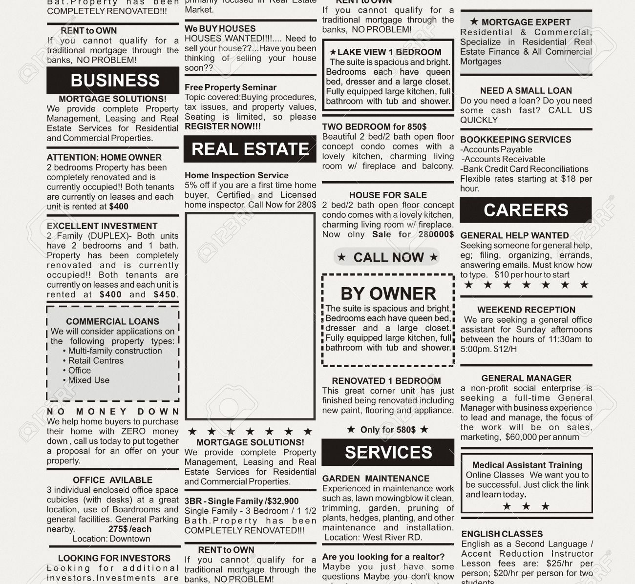 Fake Classified Ad, newspaper, business concept Stock Photo - 23319670