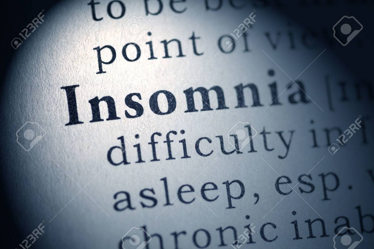 fake dictionary, dictionary definition of the word insomnia stock