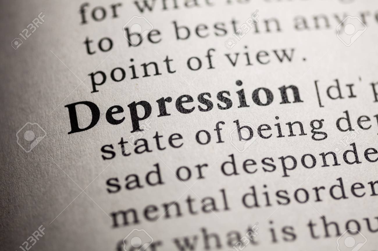 fake dictionary, dictionary definition of the word depression stock