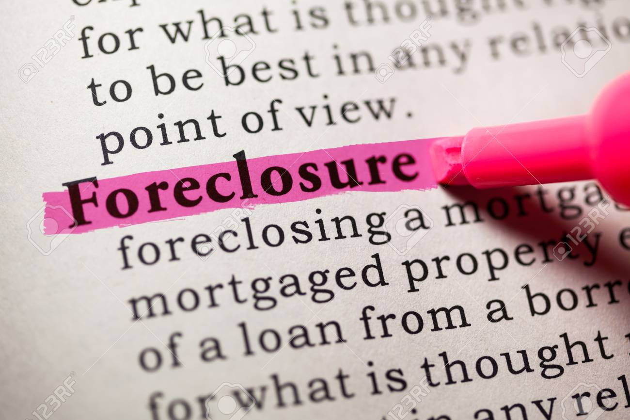 Lovely Fake Dictionary, Dictionary Definition Of The Word Foreclosure Stock Photo    26401936