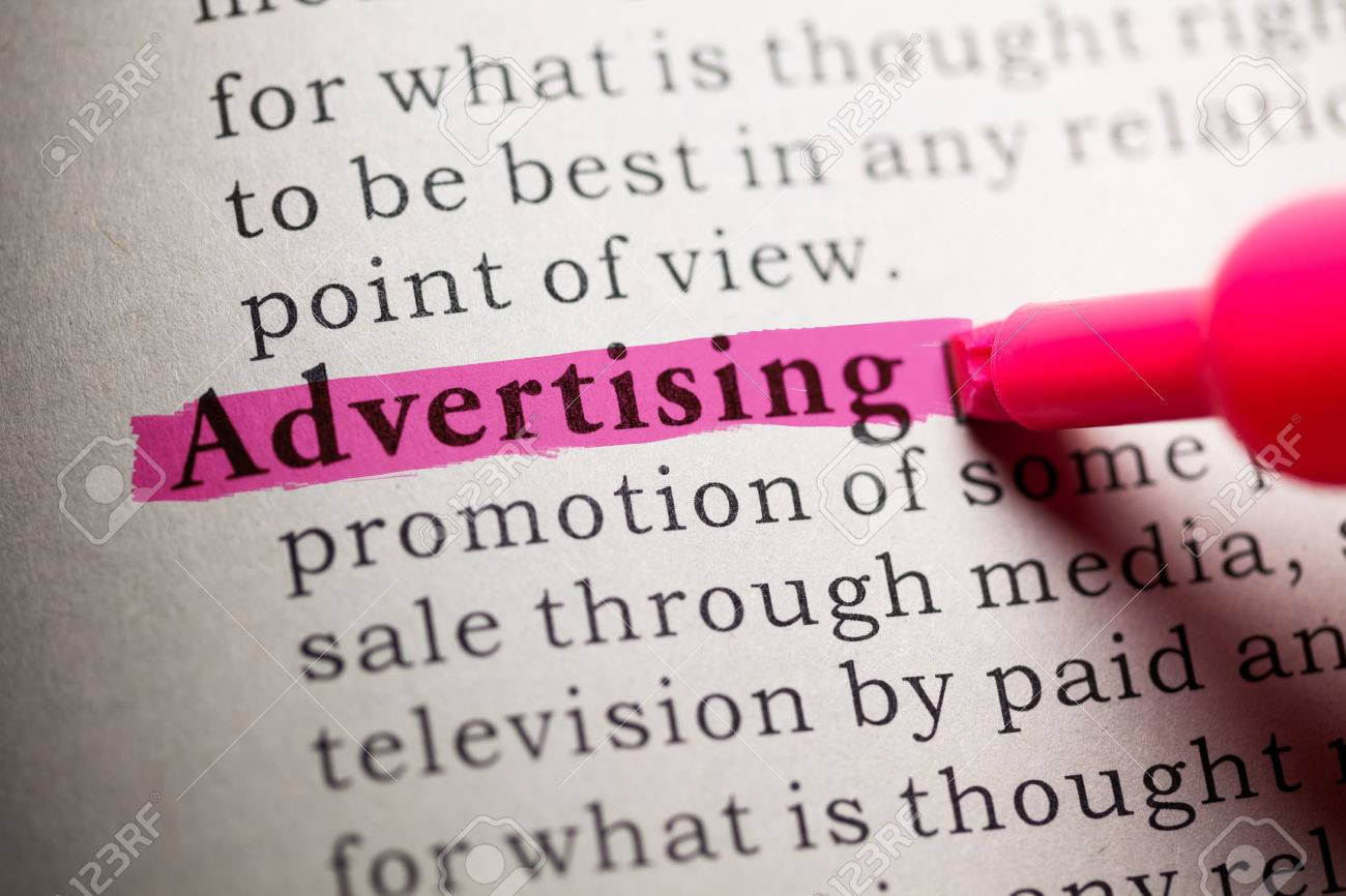 Fake Dictionary Definition Of The Word Advertising Stock Photo
