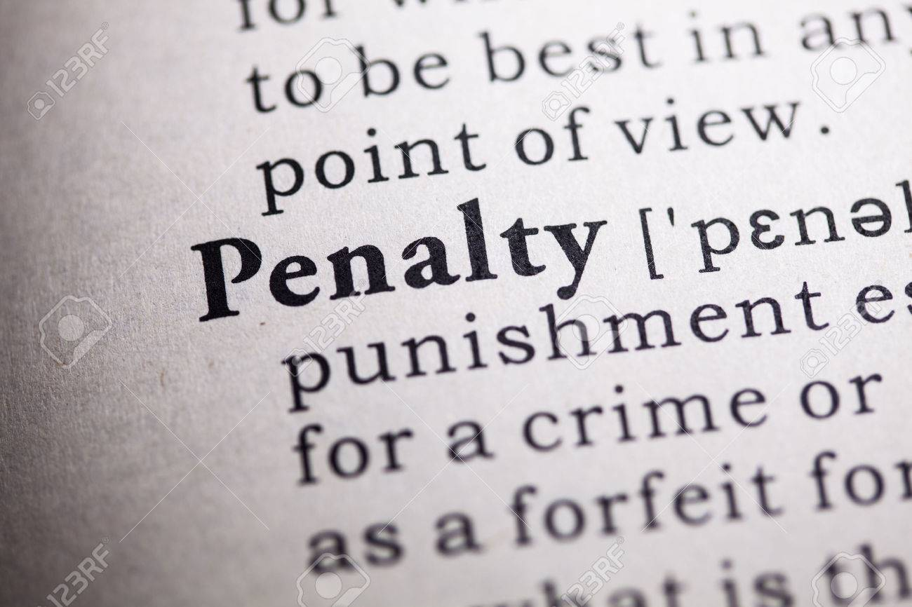 Fake Dictionary, Dictionary Definition Of The Word Penalty. Stock Photo    48137309