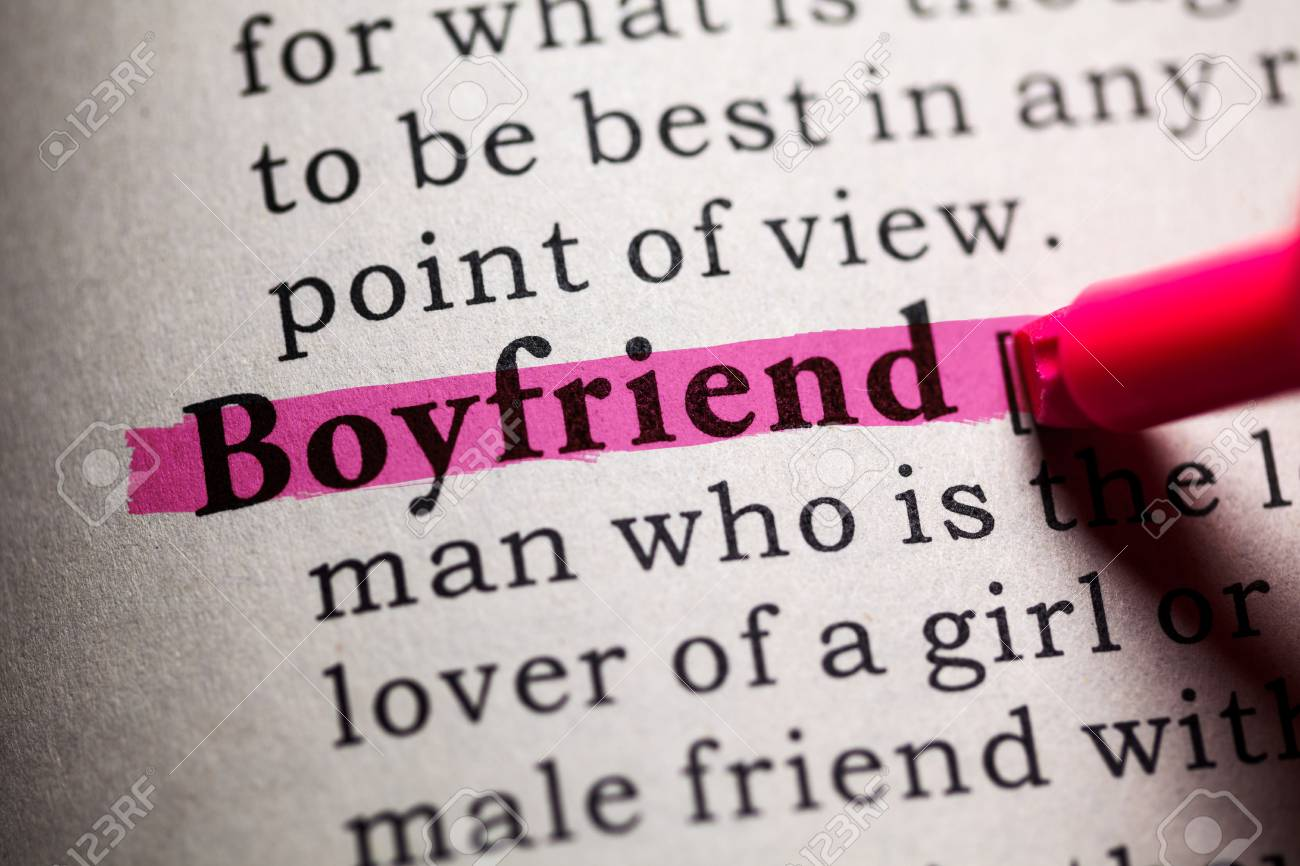 Fake Dictionary Definition Of The Word Boyfriend Stock Photo