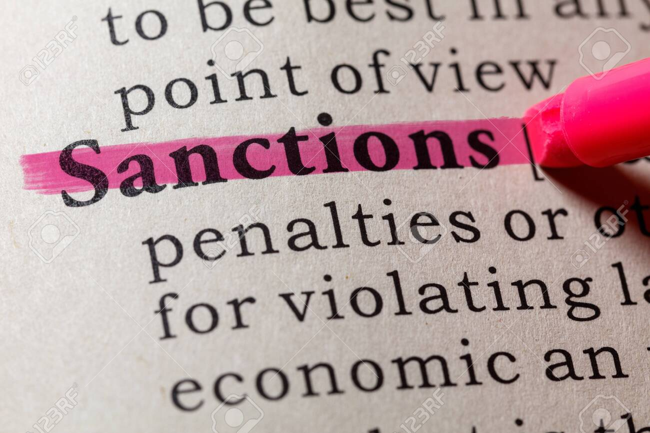 Fake Dictionary, Dictionary definition of the word sanctions. including key descriptive words. - 121487074