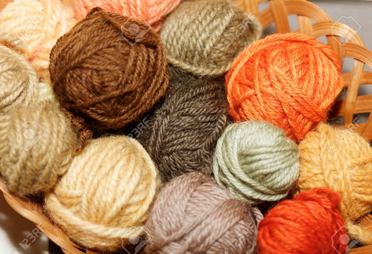 woolen colorful balls of yarn, mushroom dye. - 121487110