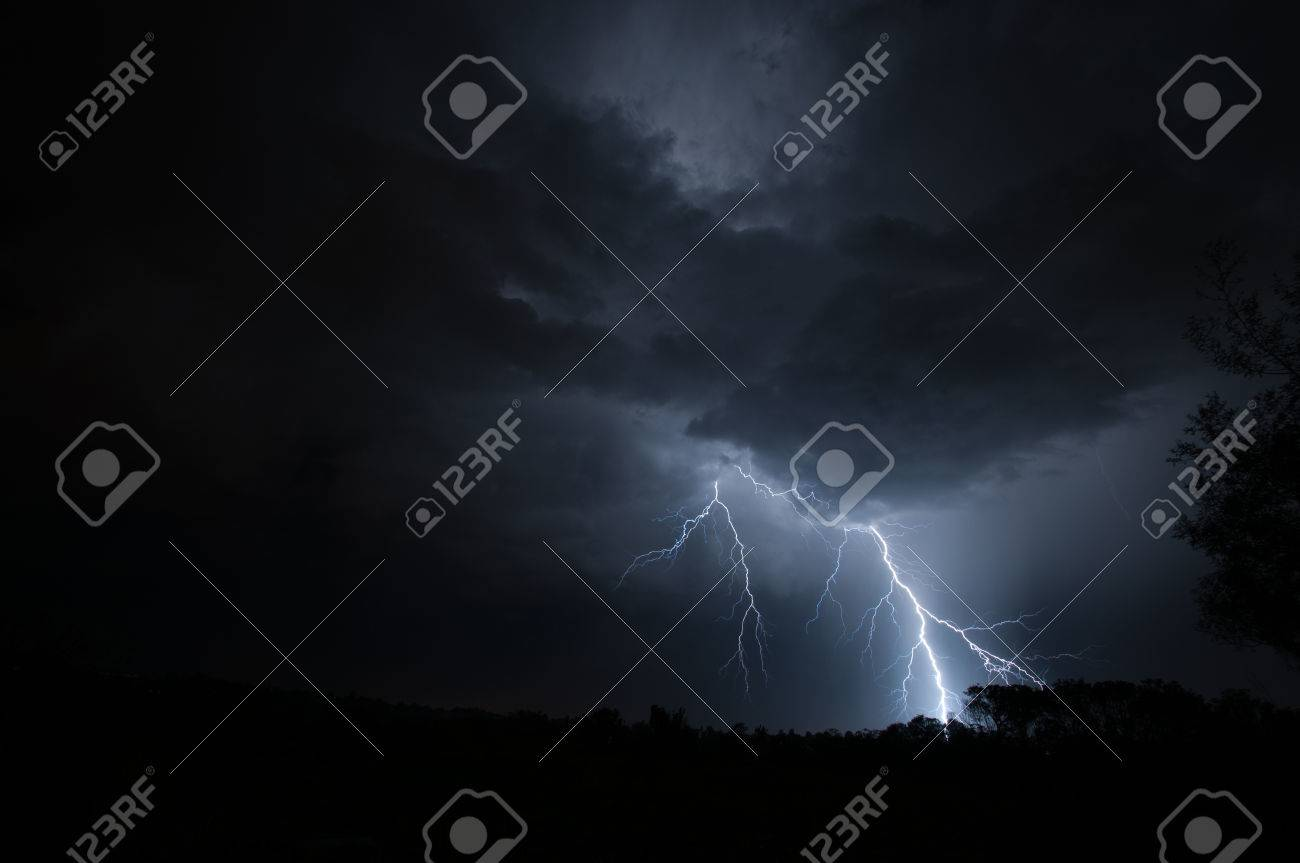 Urban Lightning Strike Ground Stock Photo - 24749240