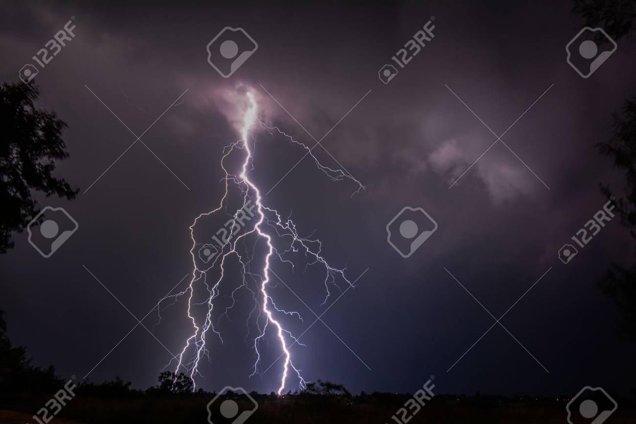 Cloud to Ground Strike Lightning Stock Photo - 35995457