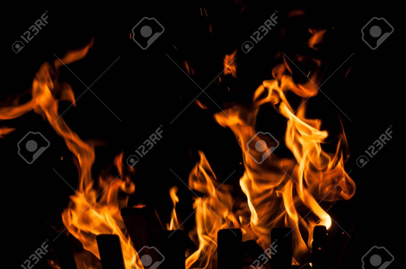 Fire flames on a black background Stock Photo - 44672057