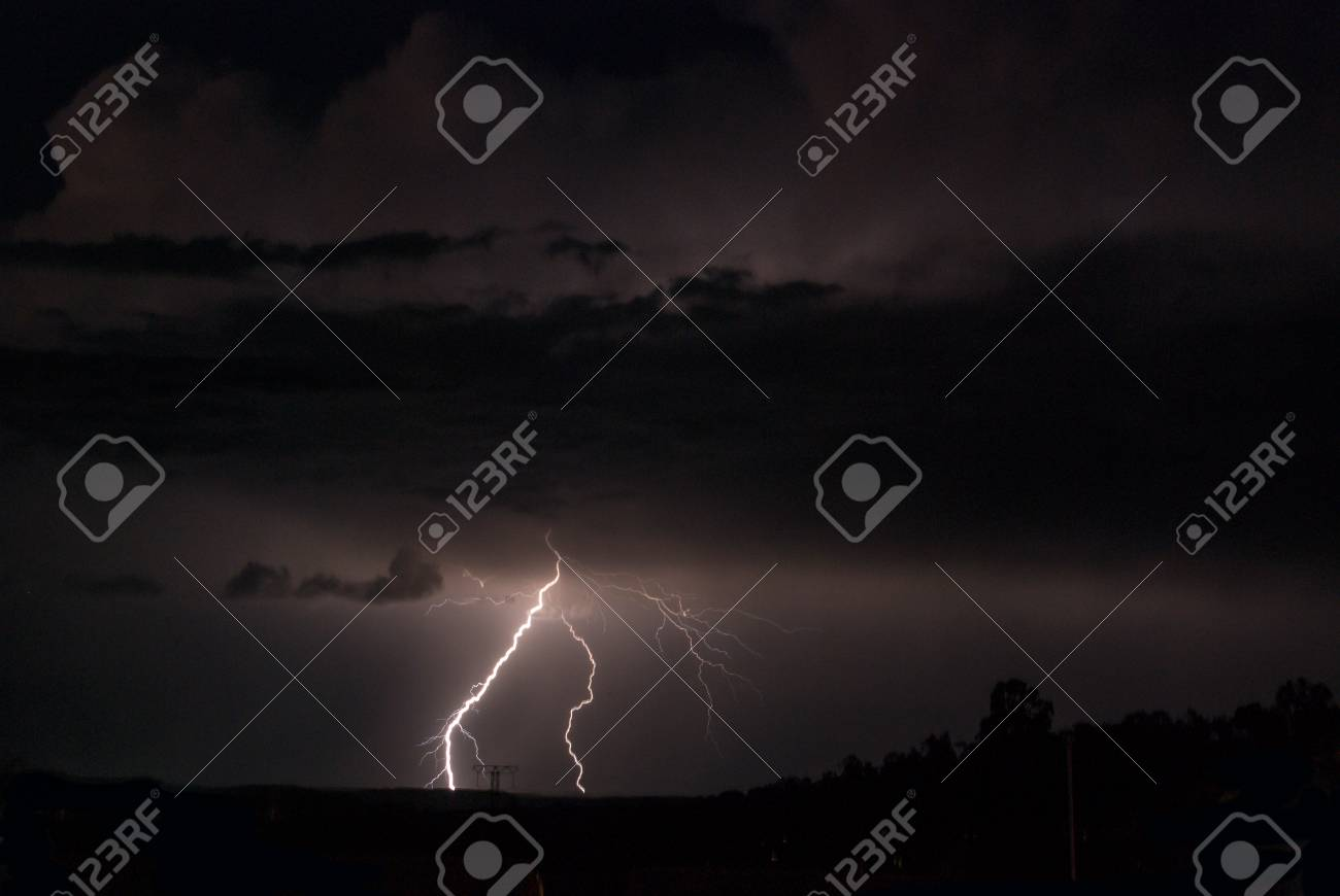 Lightning, Weather and Storms in night skies Stock Photo - 45306335