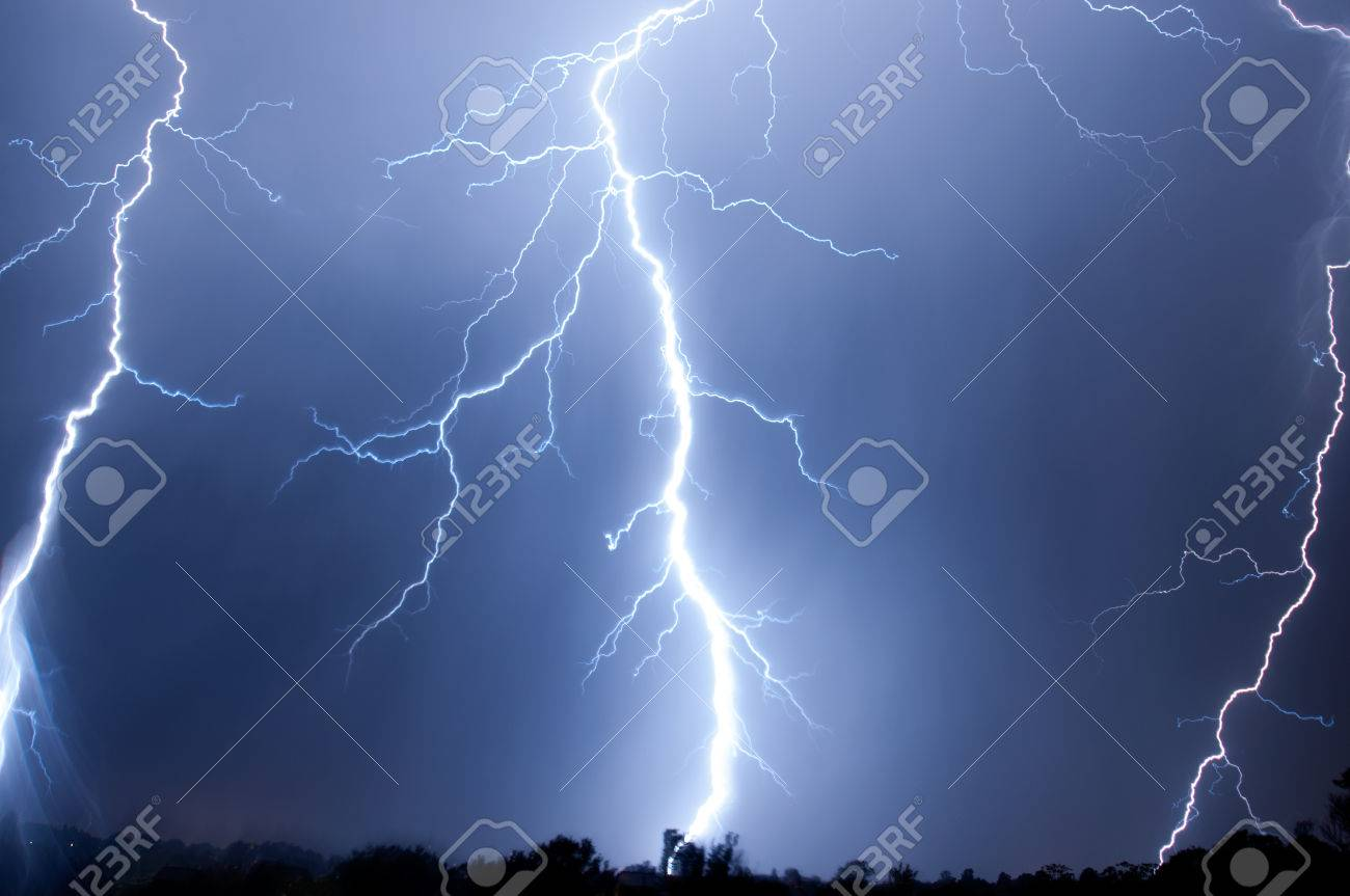 Lightning, Weather and Storms in night skies Stock Photo - 45306336