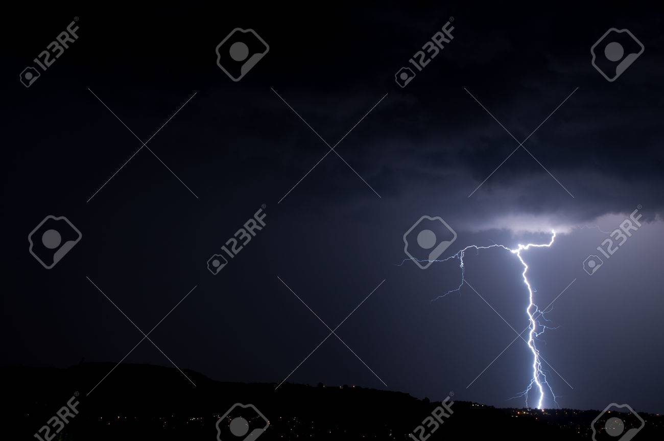 Lightning, Weather and Storms in night skies Stock Photo - 45306343